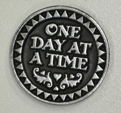 ONE DAY AT A TIME... Pocket Token With Message/Prayer 31mm Diameter Metal