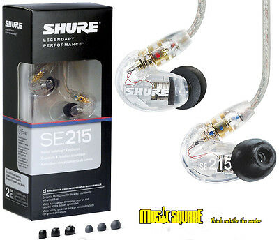 Shure SE215-CL Sound Isolating In-ear Monitor Earphones Clear Expedited Shipping