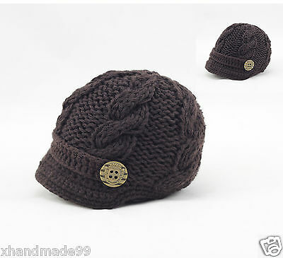 Handmade Knitting Beanie Hat Newsboy Toddler boy baby 6-12 months brown