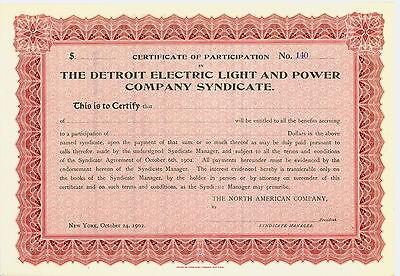1902 - THE DETROIT ELECTRIC LIGHT AND POWER  CO. Certificate  OF PARTICIPATION