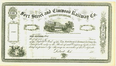 1860's Stock Certificate Fort Street and Elmwood Railway Co., Detroit, Mich.