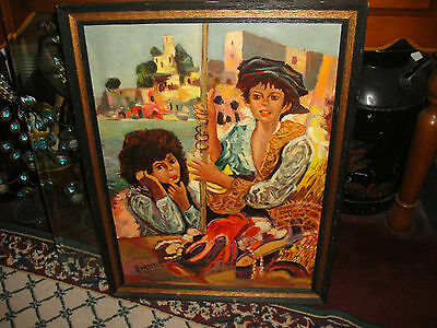 Vintage Spanish Dominican Oil Painting On Canvas-Signed Fardella-Seaport-Girls