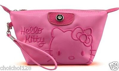 New Hello Kitty Cosmetic Make-Up Hand Bag Pink with Handstrap HB96