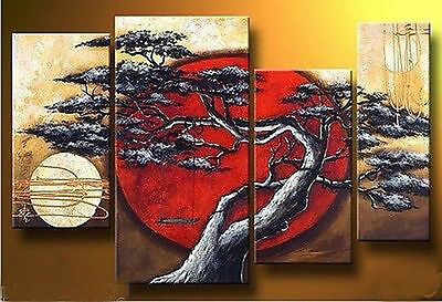 MODERN ABSTRACT HUGE WALL ART OIL PAINTING ON CANVAS 4PCS (no framed) 053