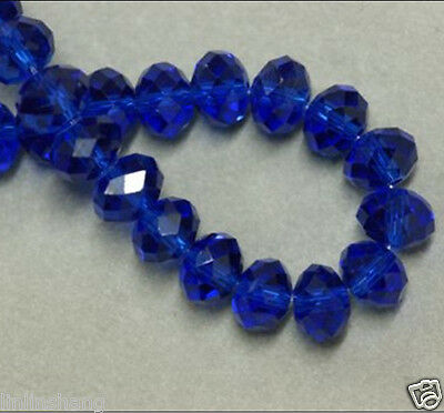 DIY Faceted Rondelle Bicone Glass Crystal Jewelley Beads 6mm 98pcs dark blue