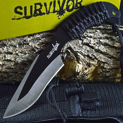 """7"""" TACTICAL COMBAT Full Tang HUNTING SURVIVAL KNIFE Military BOWIE Fixed Blade"""