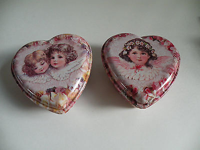 2 VALENTINE Heart Boxes, Heart Container, Sweetheart Boxes, Lidded Plastic Boxes