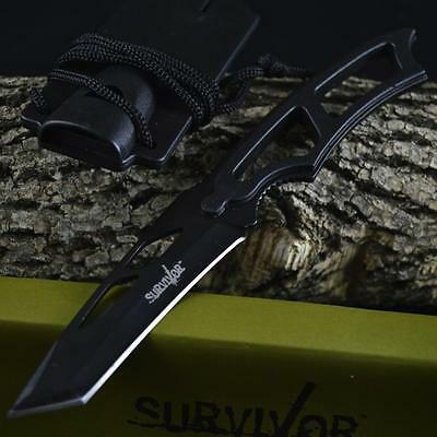 """NIB 7"""" COMBAT SURVIVAL Fixed Blade TACTICAL KNIFE Tanto Blade WHISTLE SHEATH"""