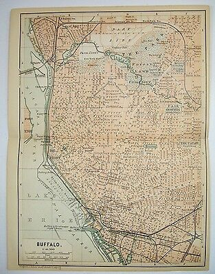1893 Wagner Debes BUFFALO NIAGARA NEW YORK ANTIQUE MAP Leipzig US Germany COLOR
