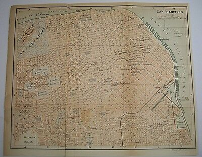 1893 Wagner Debes SAN FRANCISCO California ANTIQUE MAP Leipzig US Germany COLOR