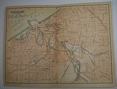 1893 Wagner Debes CLEVELAND OHIO OH City ANTIQUE MAP Leipzig US Germany COLOR