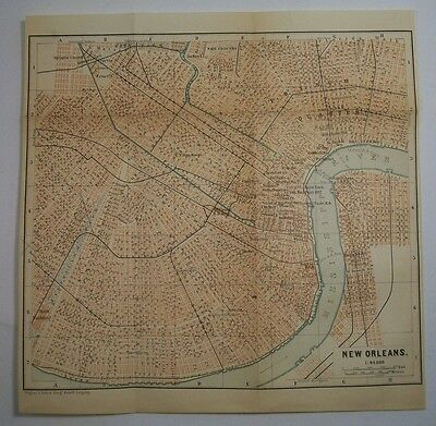 1893 Wagner Debes NEW ORLEANS Louisiana ANTIQUE MAP Leipzig US Germany COLOR