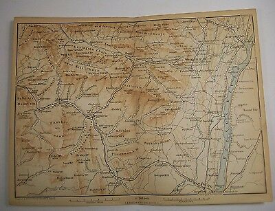1893 Wagner Debes CATSKILL MOUNTAINS ANTIQUE MAP Leipzig USA Germany COLOR NY