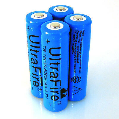 Good 4x3.7V UltraFire5000MAH Li-ion Rechargeable 18650 Battery For Flashlight US