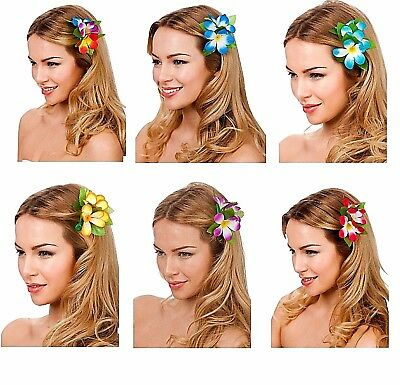 Adult Kids HAWAIIAN FLOWER HAIR CLIP Fancy Dress Accessory Novelty Summer Party