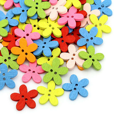 NEW 100PCs Wood Buttons Sewing Scrapbooking Flowers Shaped 2 Holes Mixed Color