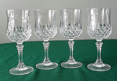 "Cristal d'Arques Wine Glasses  Set of 4 6 1/2"" Tall  NICE"