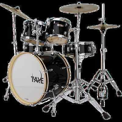 TAYE ROCK PRO JET BLACK 20 STAGE 5 PIECE DRUMS SET WITH HARDWARE