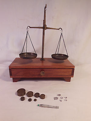 Old Traveling Apothecary Scale in Wooden Case w/ Brass Cups & 12 Weights
