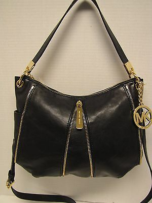 NWT Michael Kors Med Newman Black Leather Crossbody $269