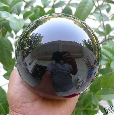 AAA HOT SELL NATURAL OBSIDIAN POLISHED BLACK CRYSTAL SPHERE BALL 80MM +STAND A!