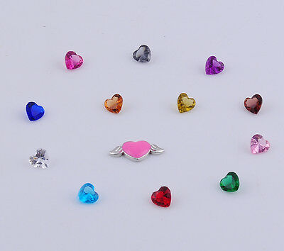 13pcs heart Floating heart  Charm for Glass Living Memory Locket Mix H2192