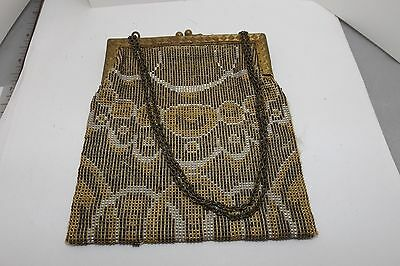 ANTIQUE ART DECO FLAPPER BEADED PURSE METAL FRAME CHAIN STRAP SIGNED