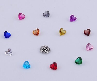 13pcs heart Floating heart  Charm for Glass Living Memory Locket Mix H2187