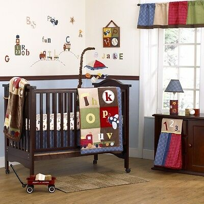 Cocalo A to Z 13pc Crib bed Set mobile Boys NURSERY Train airplane 123 abc Decal