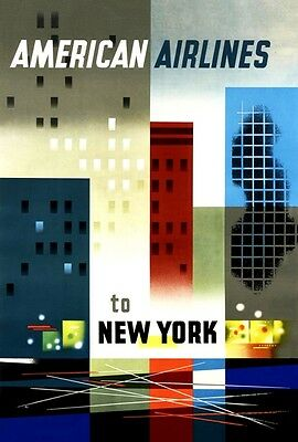 Mid Century 1950's Vintage Travel To New York City Airline Poster  A3 Reprint