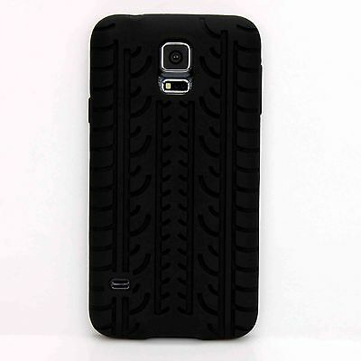 Black Rubber Tyre Soft Silicone Case Cover Skin For Samsung Galaxy S5 SV i9600