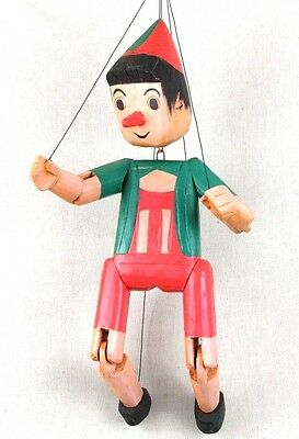 """LARGE 22"""" Vintage Pinocchio Marionette Wooden Puppet Doll Hand Carved & Painted"""