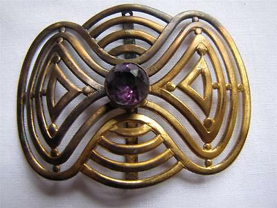 Antique Victorian Era Large Brass and Amethyst Stone Buckle