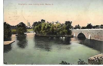 BRIGHTWOOD LAKE LOOKING SOUTH, MARION OHIO 1910 OH. RPO Postmark