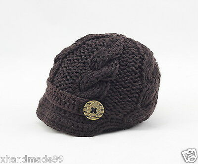 Handmade Knitting crochet Beanie Hat Newsboy Toddler boy baby 3-6 months brown