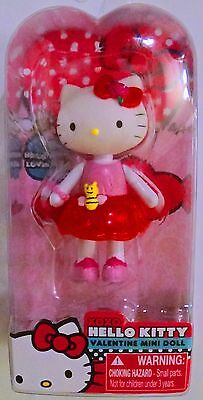 NEW! Valentines day XOXO Hello Kitty Mini Doll! Red Rose Dress! PInk Rose Ribbon