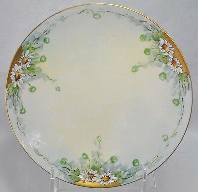 Vtg Hand Painted Signed Bavaria Floral Daisy Plate