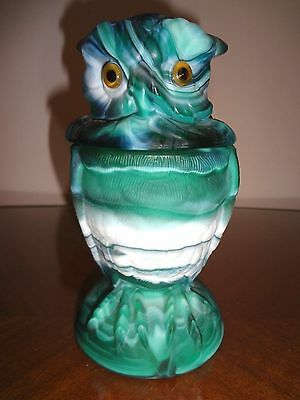 AUTHENTIC IMPERIAL GLASS SLAG OWL COVERED JAR IN JADE SATIN