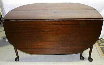 Early Antique Mahogany Queen Anne Drop Leaf Gate Leg Table Extension Vintage