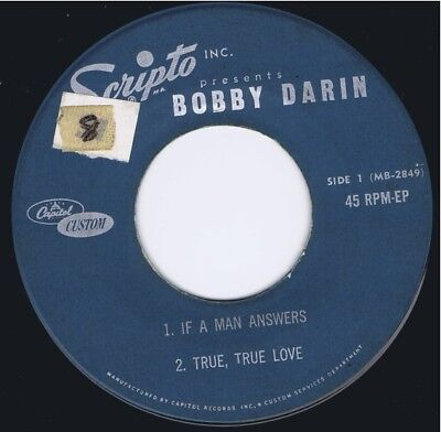 BOBBY DARIN: If A Man Answer / True,True L EP 45 VG 1962 vinyl record