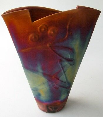 Kerry Gonzalez Copper Raku French Vase Studio Pottery
