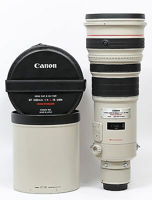 Canon EF 500mm F/4.0 IS L USM 500 4 Lens with Trunk Case UW code Mint