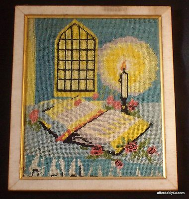 Vintage Framed Needlepoint Bible Alter Scene Religious Holy Spiritual Picture