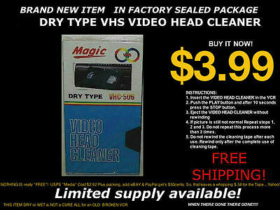 VHS Dry Head Cleaner Cassette Tape for VCR Video Player/Recorder+FREE SHIPPING!!