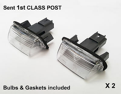 2 x Peugeot 206 Partner Tepee Expert Traveller Rear Number Plate Light Lamp New