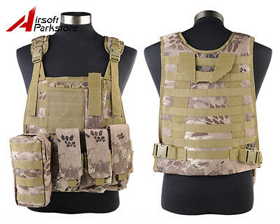 Tactical Military SWAT Police Molle Plate Carrier Combat Vest Pouch Banshee Camo