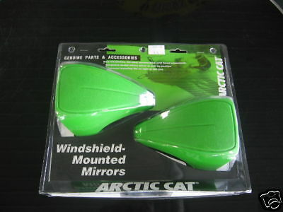 ARCTIC CAT GREEN SNOWMOBILE WINDSHIELD MOUNTED MIRRORS