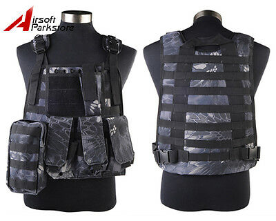 Tactical Military SWAT Police Molle Plate Carrier Combat Vest Pouch Typhon Camo