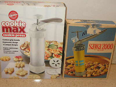 LOT OF 2 COOKIE PRESS * VINTAGE SAWA 200 DELUXE * WILTON COOKIE PRESS MAX (NEW)
