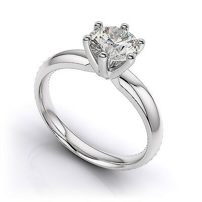 GIA Certified 0.76ct Round Cut Diamond Solitaire Engagement Ring VVS2 I Color